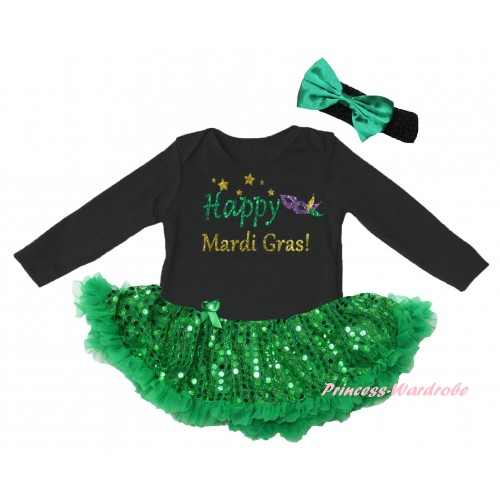 Mardi Gras Black Long Sleeve Baby Bodysuit Jumpsuit Bling Kelly Green Sequins Pettiskirt & Sparkle Happy Mardi Gras! Clown Mask Painting & Black Headband Kelly Green Bow JS6395