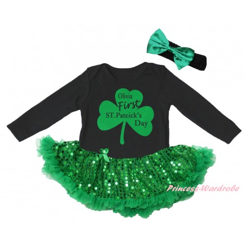 St Patrick's Day Black Long Sleeve Baby Bodysuit Jumpsuit Bling Kelly Green Sequins Pettiskirt & Kelly Green Clover Olivia First ST.Patrick's Day Painting & Black Headband Kelly Green Bow JS6397