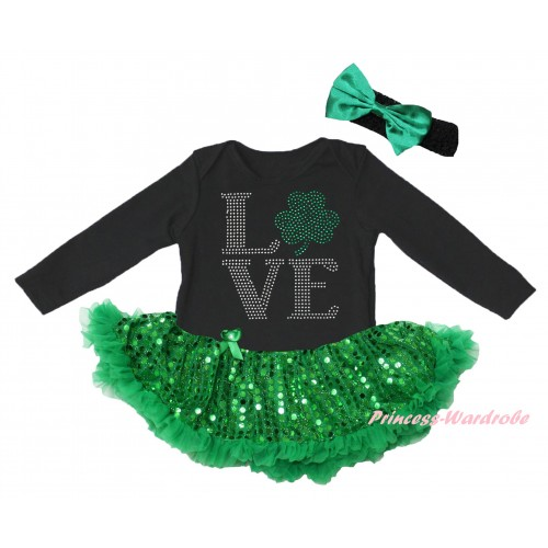 St Patrick's Day Black Long Sleeve Baby Bodysuit Jumpsuit Bling Kelly Green Sequins Pettiskirt & Sparkle Rhinestone Love Clover Print & Black Headband Kelly Green Bow JS6398
