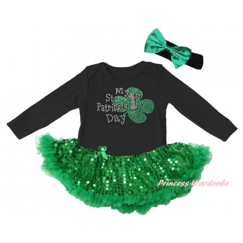 St Patrick's Day Black Long Sleeve Baby Bodysuit Jumpsuit Bling Kelly Green Sequins Pettiskirt & Sparkle Rhinestone My 1st St Patrick's Day Print & Black Headband Kelly Green Bow JS6399