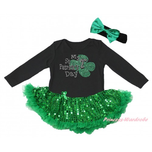 St Patrick's Day Black Long Sleeve Baby Bodysuit Jumpsuit Bling Kelly Green Sequins Pettiskirt & Sparkle Rhinestone My 2nd St Patrick's Day Print & Black Headband Kelly Green Bow JS6400