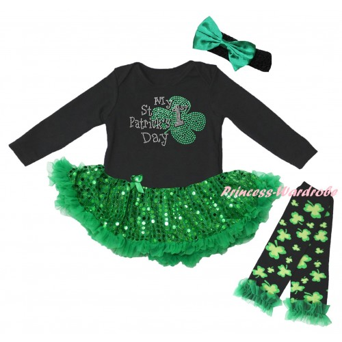 St Patrick's Day Black Long Sleeve Baby Bodysuit Jumpsuit Bling Kelly Green Sequins Pettiskirt & Sparkle Rhinestone My 1st St Patrick's Day Print & Black Headband Kelly Green Bow & Warmers Leggings JS6407
