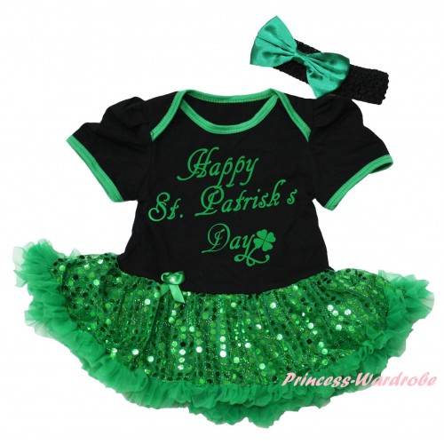 St Patrick's Day Black Baby Bodysuit Bling Kelly Green Sequins Pettiskirt & Kelly Green Happy St.Patrick's Day Painting JS6422