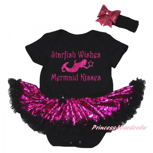 Black Baby Jumpsuit Hot Pink Scale Pettiskirt & Sparkle Hot Pink Starfish Wishes Mermaid Kisses Painting JS6445