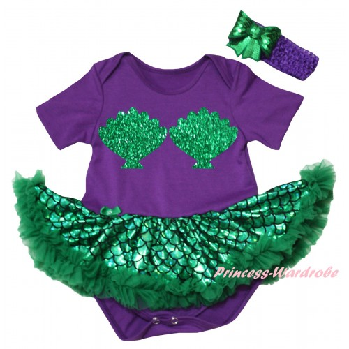 Dark Purple Baby Jumpsuit Green Scale Pettiskirt & Sparkle Kelly Green Mermaid Sea Shell Bra Painting JS6446