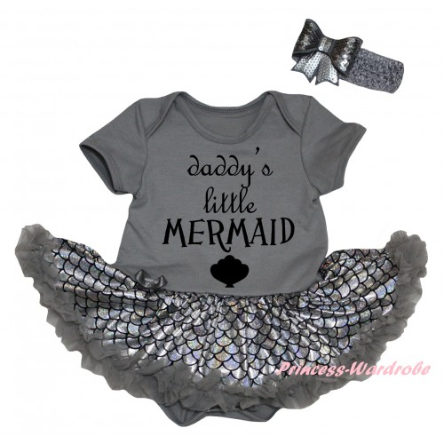 Grey Baby Jumpsuit Silver Grey Scale Pettiskirt & Daddy's Little Mermaid Painting JS6449