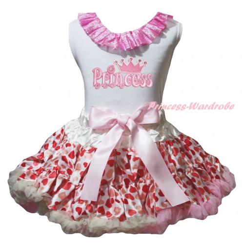 White Tank Top Bling Light Pink Lacing & Princess Print & Cream White Heart Pettiskirt MG2773