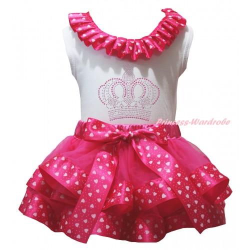 White Pettitop Hot Light Pink Heart Lacing & Sparkle Rhinestone Crown Print & Hot Light Pink Heart Trimmed Pettiskirt MG2825