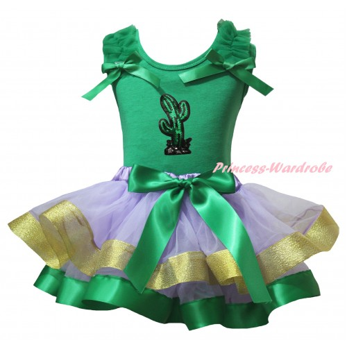 Cinco De Mayo Kelly Green Tank Top Kelly Green Ruffles Bows & Sparkle Sequins Cactus Print & Kelly Green Lavender Gold Trimmed Pettiskirt MG2855