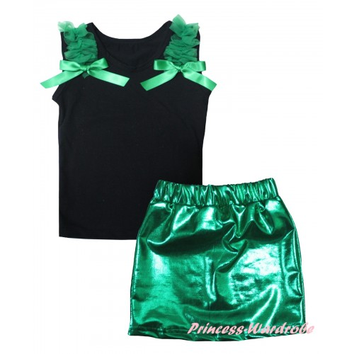 Black Tank Top Kelly Green Ruffles & Bows & Bling Kelly Green Shiny Girls Skirt Set MG2858