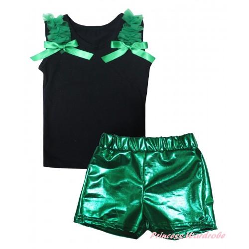 Black Tank Top Kelly Green Ruffles & Bows & Bling Kelly Green Shiny Girls Pantie Set MG2864