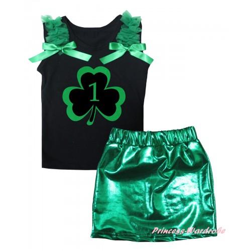 St Patrick's Day Black Tank Top Kelly Green Ruffles & Bows & Green 1st Number Clover Painting & Bling Green Shiny Girls Skirt Set MG2870