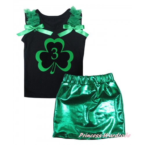 St Patrick's Day Black Tank Top Kelly Green Ruffles & Bows & Green 3rd Number Clover Painting & Bling Green Shiny Girls Skirt Set MG2872