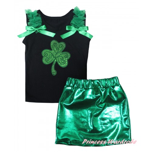 St Patrick's Day Black Tank Top Kelly Green Ruffles & Bows & Sparkle Kelly Green Clover Print & Bling Green Shiny Girls Skirt Set MG2876