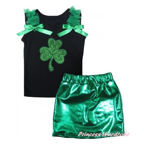 St Patrick's Day Black Tank Top Kelly Green Ruffles & Bows & Sparkle Kelly Green Clover Print & Bling Green Shiny Girls Skirt Set MG2876
