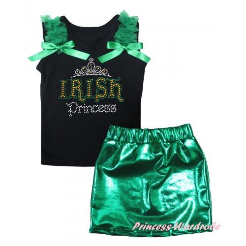 St Patrick's Day Black Tank Top Kelly Green Ruffles & Bows & Sparkle Rhinestone IRISH Princess Print & Bling Green Shiny Girls Skirt Set MG2877