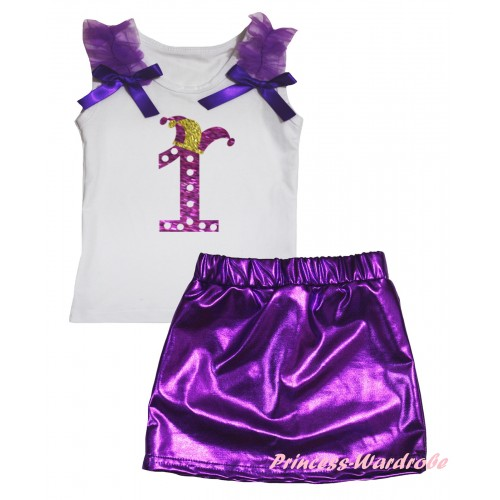 White Tank Top Dark Purple Ruffles & Bows & Sparkle Dark Purple White Dots 1st Number Clown Hat Painting & Bling Purple Shiny Girls Skirt Set MG2885