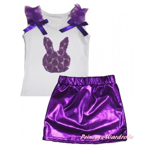 Easter White Tank Top Dark Purple Ruffles & Bows & Dark Purple Rosettes Rabbit Print & Bling Purple Shiny Girls Skirt Set MG2886