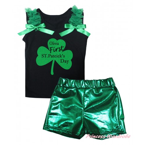 St Patrick's Day Black Tank Top Kelly Green Ruffles & Bows & Kelly Green Clover Olivia First ST.Patrick's Day Painting & Bling Green Shiny Girls Pantie Set MG2893