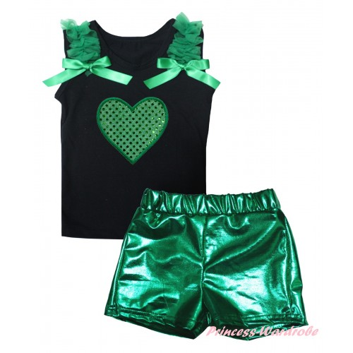 St Patrick's Day Black Tank Top Kelly Green Ruffles & Bows & Sparkle Kelly Green Heart Print & Bling Green Shiny Girls Pantie Set MG2894