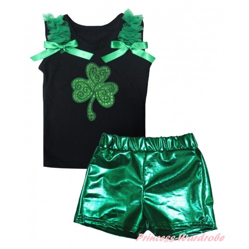 St Patrick's Day Black Tank Top Kelly Green Ruffles & Bows & Sparkle Kelly Green Clover Print & Bling Green Shiny Girls Pantie Set MG2895