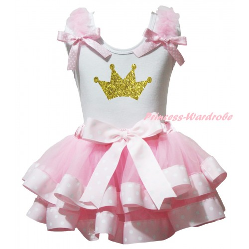 White Baby Pettitop Light Pink Ruffles Pink White Dots Bow & Sparkle Gold Crown Painting & Light Pink White Dots Trimmed Newborn Pettiskirt NG2355