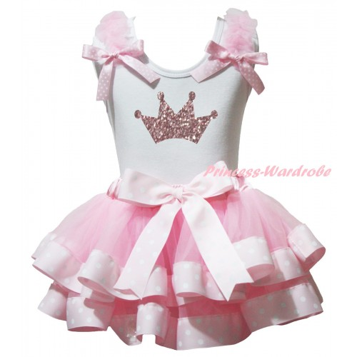 White Baby Pettitop Light Pink Ruffles Pink White Dots Bow & Sparkle Light Pink Crown Painting & Light Pink White Dots Trimmed Newborn Pettiskirt NG2356