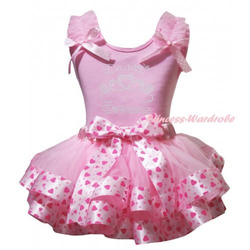 Light Pink Baby Pettitop Light Pink Ruffles Pink White Dots Bow & Sparkle Rhinestone Daddy's Princess Print & Light Hot Pink Heart Trimmed Newborn Pettiskirt NG2367