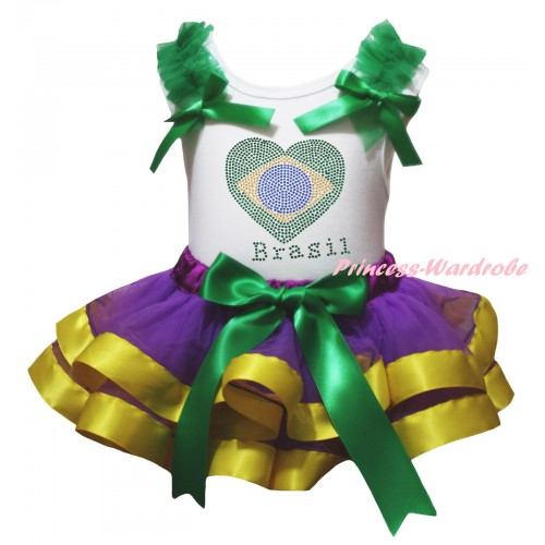 White Baby Pettitop Kelly Green Ruffles Bows & Sparkle Crystal Bling Rhinestone Brazil Heart Print & Kelly Green Dark Purple Yellow Trimmed Newborn Pettiskirt NG2403