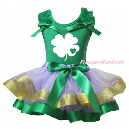 St Patrick's Day Kelly Green Baby Pettitop Kelly Green Ruffles Bows & White Clover Kelly Green Heart Painting & Kelly Green Lavender Gold Trimmed Newborn Pettiskirt NG2413
