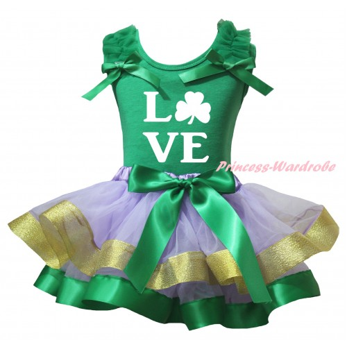 St Patrick's Day Kelly Green Baby Pettitop Kelly Green Ruffles Bows & White Love Clover Painting & Kelly Green Lavender Gold Trimmed Newborn Pettiskirt NG2414