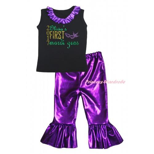 Personalize Custom Black Tank Top Dark Purple Lacing & Sparkle 2017 First Mardi Gras Mask Painting & Purple Shiny Pants Set P069