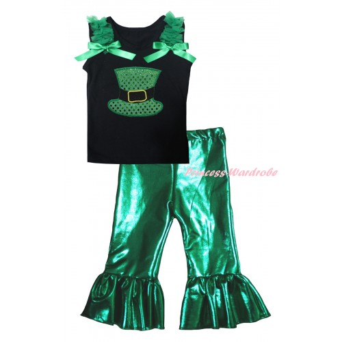 St Patrick's Day Black Tank Top Kelly Green Ruffles & Bows & Sparkle Kelly Green Hat Print & Kelly Green Shiny Pants Set P070