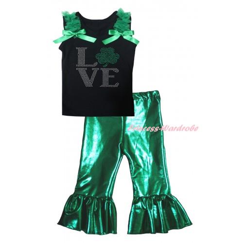 St Patrick's Day Black Tank Top Kelly Green Ruffles & Bows & Sparkle Rhinestone Love Clover Print & Kelly Green Shiny Pants Set P071