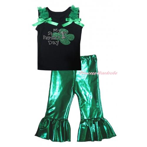 St Patrick's Day Black Tank Top Kelly Green Ruffles & Bows & Sparkle Rhinestone My 1st St Patrick's Day Print & Kelly Green Shiny Pants Set P072
