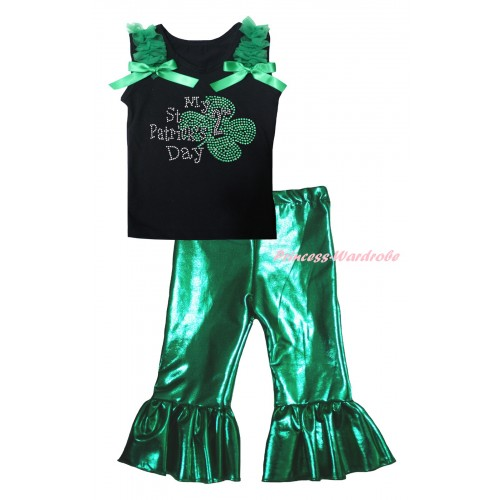 St Patrick's Day Black Tank Top Kelly Green Ruffles & Bows & Sparkle Rhinestone My 2nd St Patrick's Day Print & Kelly Green Shiny Pants Set P073