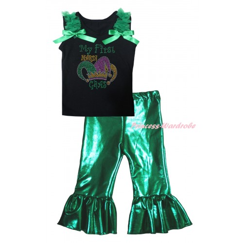 Mardi Gras Black Tank Top Kelly Green Ruffles & Bows & Sparkle Rhinestone My First Mardi Gras Clown Hat Print & Kelly Green Shiny Pants Set P075