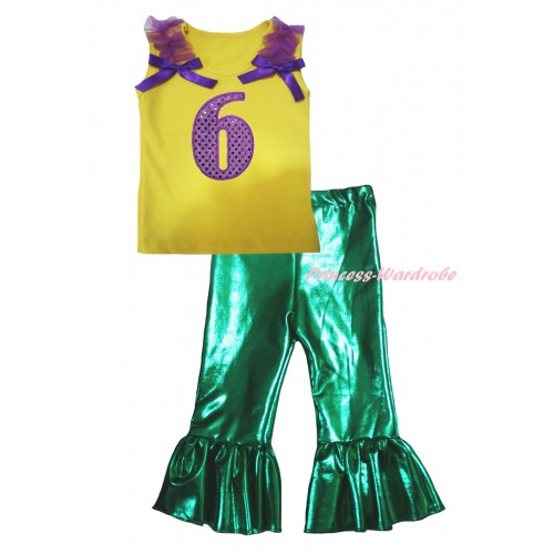 Yellow Tank Top Dark Purple Ruffles & Bows & 6th Sparkle Dark Purple Birthday Number Print & Kelly Green Shiny Pants Set P081