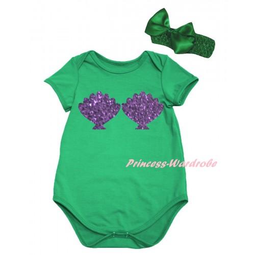 Kelly Green Baby Jumpsuit & Sparkle Purple Mermaid Sea Shell Bra Painting & Kelly Green Headband Bow TH860
