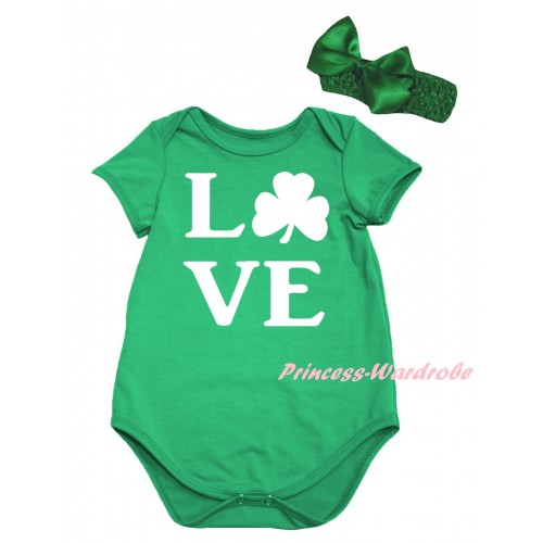 St Patrick's Day Kelly Green Baby Jumpsuit & White Love Clover Painting & Kelly Green Headband Bow TH861