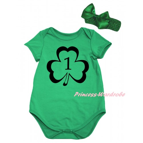 St Patrick's Day Kelly Green Baby Jumpsuit & Black 1st Number Clover Painting & Kelly Green Headband Bow TH862