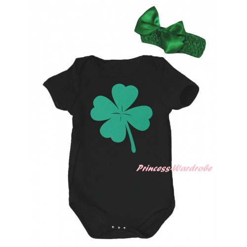 St Patrick's Day Black Baby Jumpsuit & Green Clover Painting & Kelly Green Headband Bow TH876