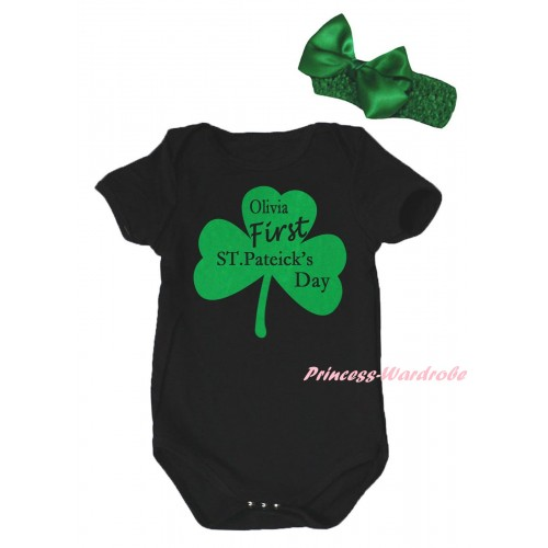 St Patrick's Day Black Baby Jumpsuit & Kelly Green Clover Olivia First ST.Patrick's Day Painting & Kelly Green Headband Bow TH877