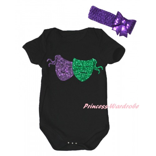 Mardi Gras Black Baby Jumpsuit & Sparkle Dark Purple Kelly Green Clown Masks Painting & Dark Purple Headband Bow TH881