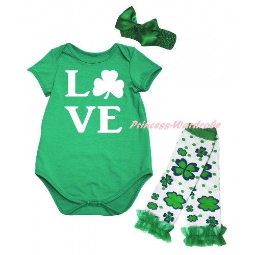 St Patrick's Day Kelly Green Baby Jumpsuit & White Love Clover Painting & Kelly Green Headband Bow & Kelly Green Ruffles Kelly Green White Clover Leg Warmer Set TH883