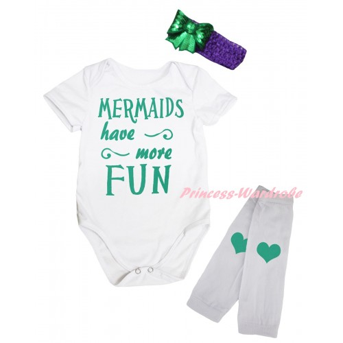 White Baby Jumpsuit & Kelly Green Mermaids Have More Fun Painting & Dark Purple Headband Kelly Green Bow & White Kelly Green Heart Print Leg Warmer Set TH890