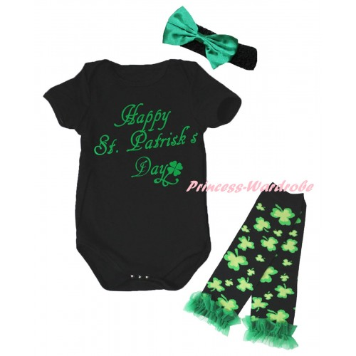 St Patrick's Day Black Baby Jumpsuit & Kelly Green Happy St.Patrick's Day Painting & Black Headband Kelly Green Bow & Kelly Green Ruffles Kelly Green Black Clover Leg Warmer Set TH891