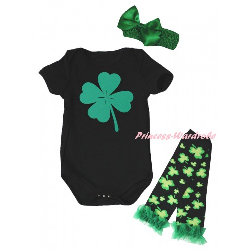 St Patrick's Day Black Baby Jumpsuit & Green Clover Painting & Kelly Green Headband Bow & Kelly Green Ruffles Kelly Green Black Clover Leg Warmer Set TH893