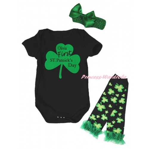 St Patrick's Day Black Baby Jumpsuit & Kelly Green Clover Olivia First ST.Patrick's Day Painting & Kelly Green Headband Bow & Kelly Green Ruffles Kelly Green Black Clover Leg Warmer Set TH894