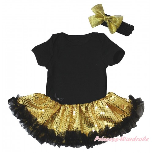 Black Baby Bodysuit Bling Gold Sequins Black Pettiskirt JS5265